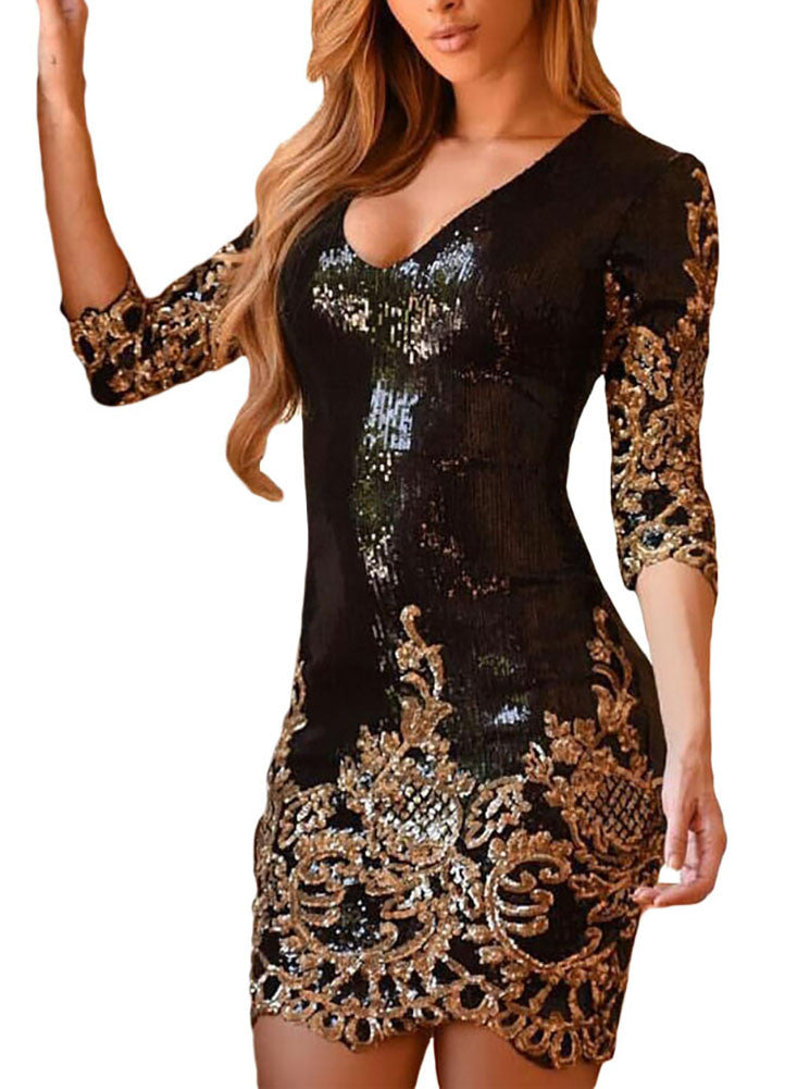 made2envy V Neck Sparkling Sequins 3/4 Sleeves Bodycon Mini Dress