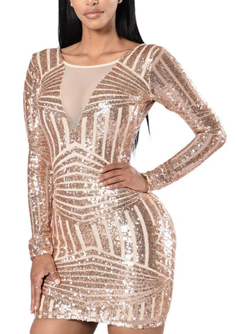 made2envy Open Back Long Sleeve Sequin Mini Dress
