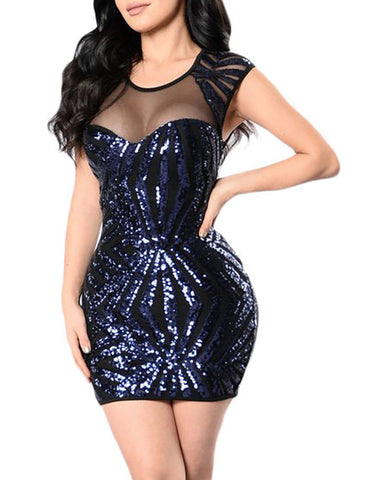 made2envy Gold Sequin Mesh Cutout Sexy Club Dress