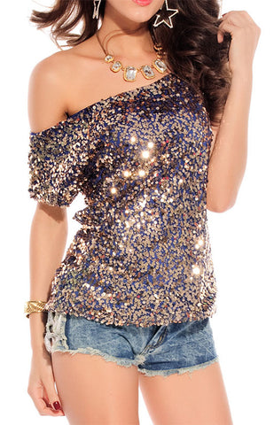 8602028370f75 made2envy Off-shoulder Glistening Sequin Cocktail Club Party Top