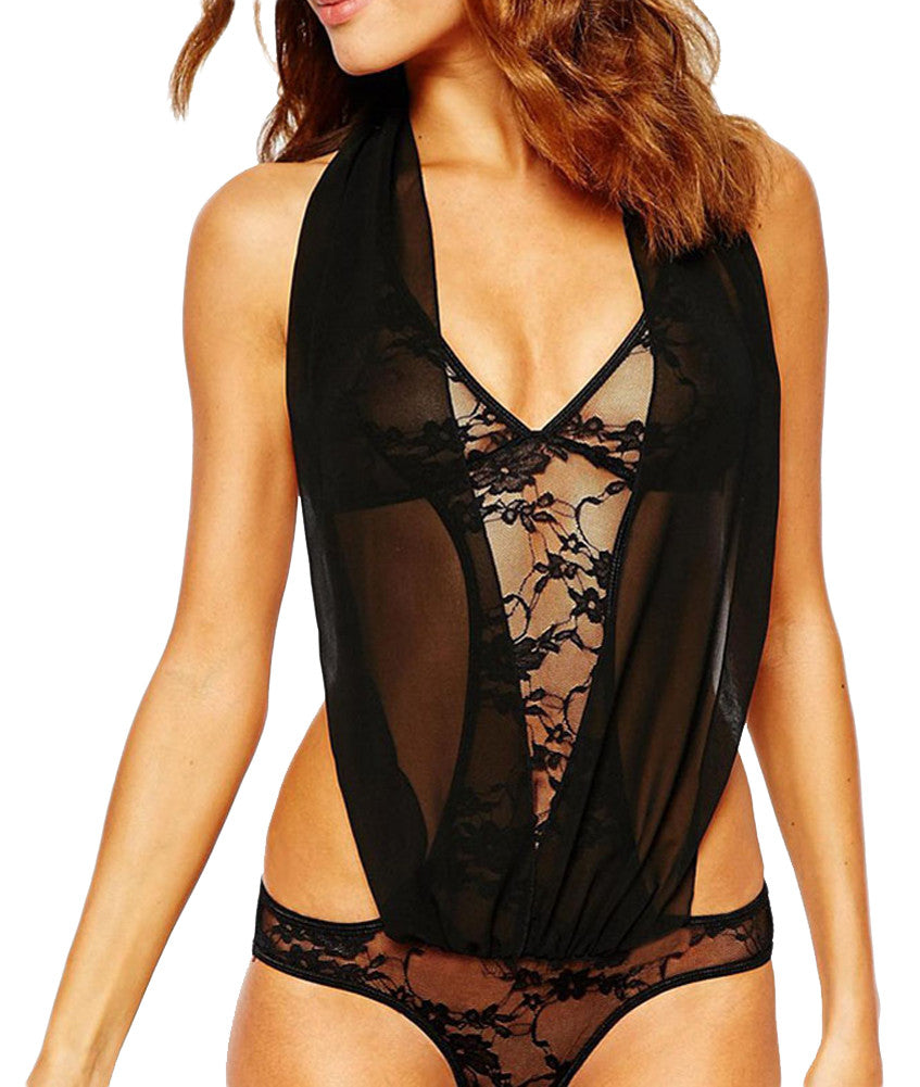 made2envy Deep V Halter Lace Teddy Lingerie