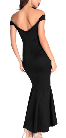 made2envy Drop Shoulder Mermaid Asymmetric Evening Dress