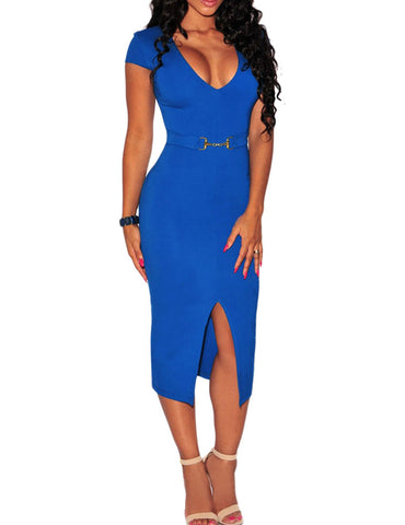 made2envy Belted Front Slit Deep Front Opening Midi Dress