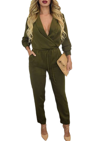 made2envy Army Green Long Sleeve Jumpsuit
