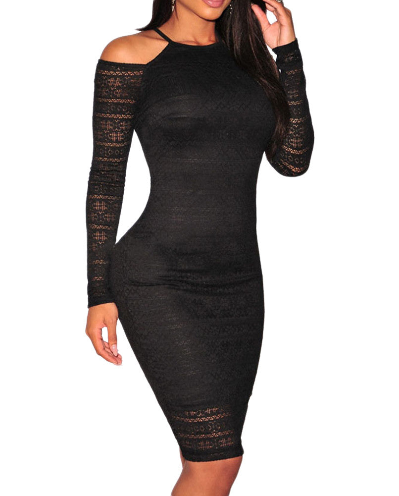 made2envy Lace Cut out Shoulder Bodycon Dress