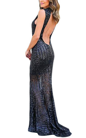 made2envy Glam Sequins Keyhole Back Sleeveless Maxi Party Gown