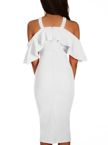 made2envy Frill Cold Shoulder Midi Dress