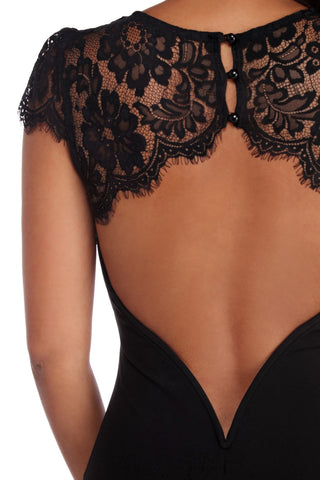 made2envy Black Lace Splice Open Back Evening Dress