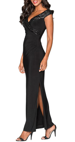 made2envy Black Sequin Wrap V Neckline Long Evening Dress