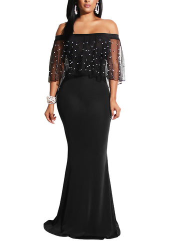 made2envy Pearl Studded Mesh Flounce Mermaid Gown