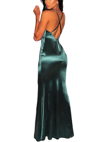 made2envy V Neck Old Glamour Style Front Slit Floor Gown