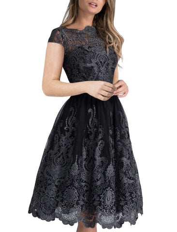 made2envy Lace Embroidered Multilayered Midi Skater Dress