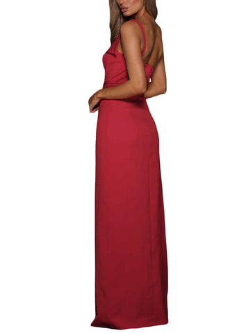 made2envy Asymmetric One Shoulder Floor Length Evening Gown