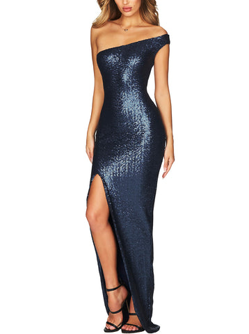 made2envy One Shoulder High Slit Sequined Gown