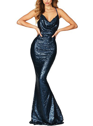 made2envy Drape Cowl Neckline Open Back Sequined Gown