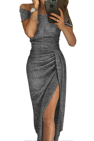 made2envy Open Shoulder Short Sleeve Metallic Slit Party Dress