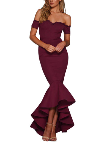 made2envy Lace Trim Off Shoulder Mermaid Maxi Party Dress
