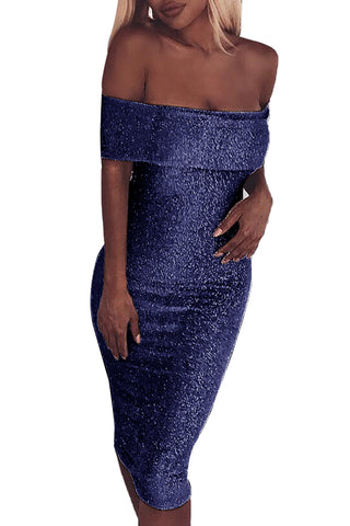 Sparkle Fold Over Off Shoulder Bodycon Dress