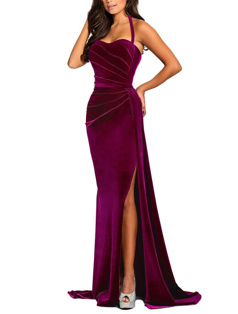 made2envy Thigh High Split Velvet Evening Gown