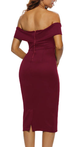 made2envy Off Shoulders Decollete Split Midi Bodycon Dress