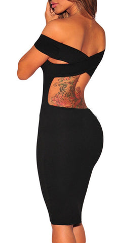 made2envy Cross Back Off Shoulder Bodycon Dress