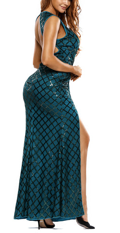 made2envy Gold Diamond Sequins Back Keyhole High Slit Gown