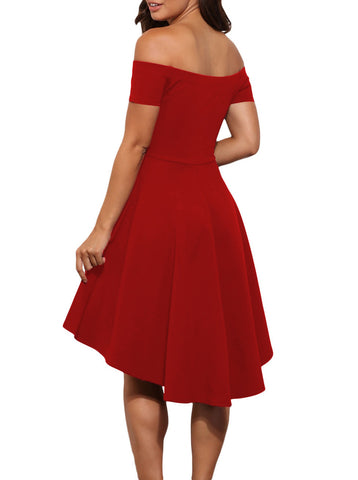 made2envy Off Shoulder Asymmetric Hem Vintage Skater Dress