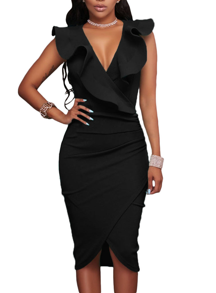 made2envy Ruffle V Neck Bodycon Midi Dress