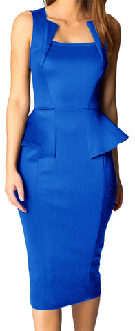 made2envy Bodycon Midi or Mini Peplum Dress with Square Neckline