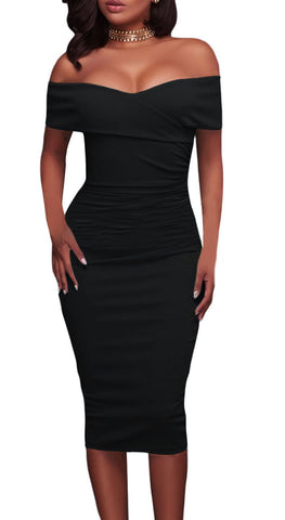 made2envy Off Shoulder Bodycon Midi Dress