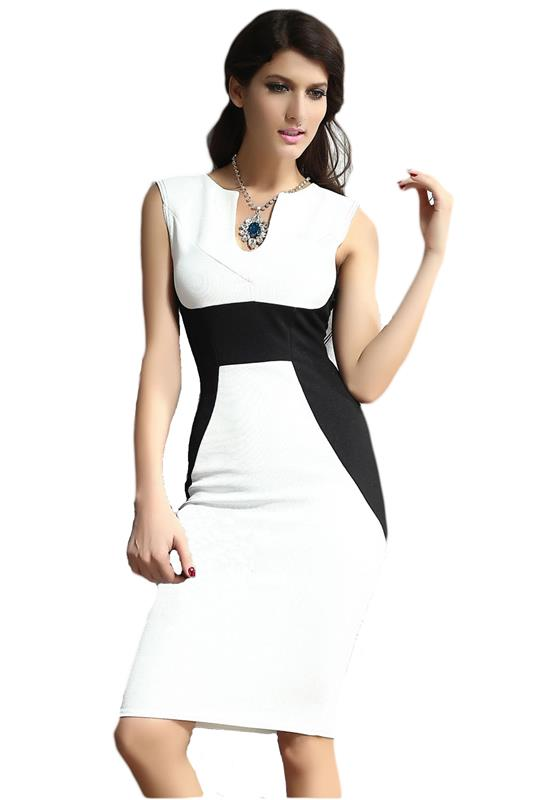 made2envy Colorblock Midi Bodycon Sleevless Deep V Neck Dress