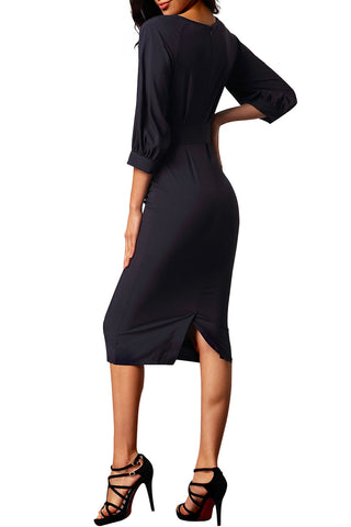 made2envy Black Puff Sleeve Belt Chiffon Pencil Dress