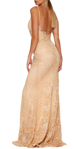 made2envy Lace High Slit Open Back Evening Gown