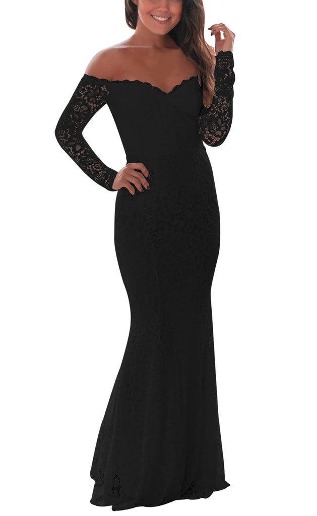 made2envy Lace Crochet Off Shoulder Maxi Evening Party Dress