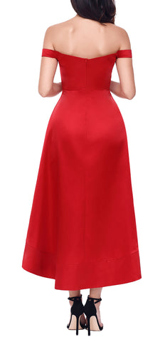 made2envy High Low Asymmetric Hem Off Shoulder Midi Party Evening Dress
