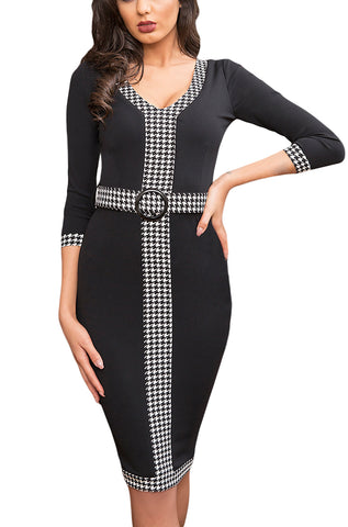 made2envy Houndstooth Detail Bodycon Midi Dress