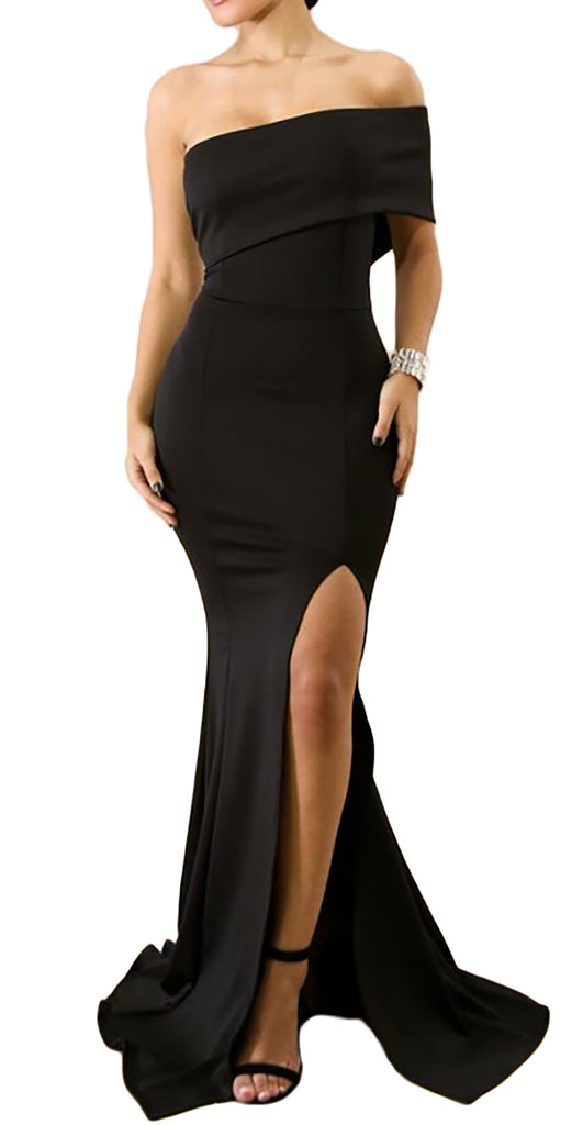 made2envy Off The Shoulder One Sleeve Slit Maxi Party Prom Dress