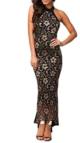made2envy Halter Lace Mermaid Style Long Evening Dress