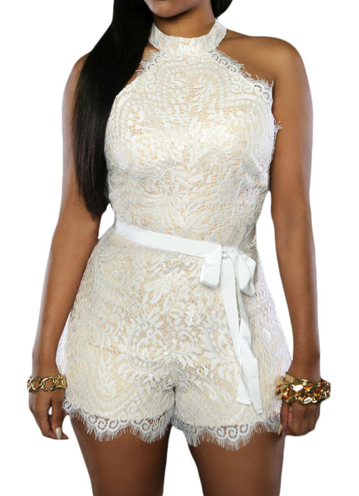 made2envy Halter Neckline Lace Nude Illusion Fashion Romper