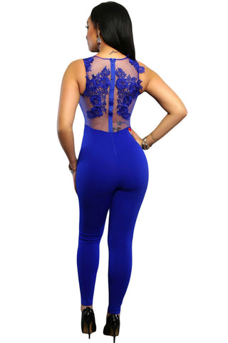 made2envy Sleeveless Mesh Lace Accent Jumpsuit