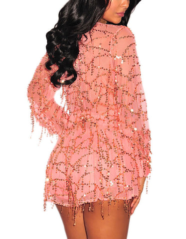 made2envy Flowing Sequins Long Sleeves Romper