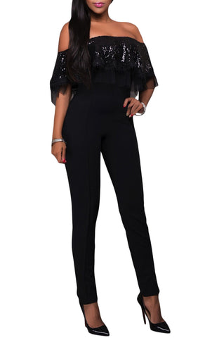 made2envy Off Shoulder Sequin Ruffle Top Jumpsuit