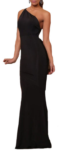 made2envy Asymmetric Neckline Low Open Back Fishtail Evening Dress