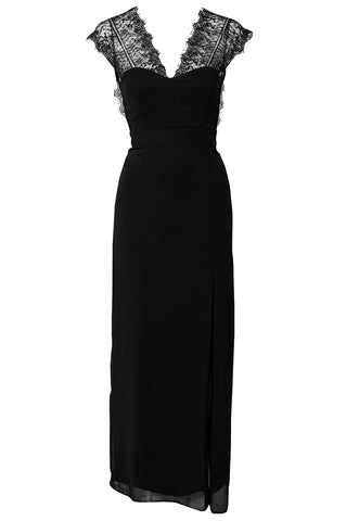 made2envy Lace V Neck Open Back Maxi Evening Dress