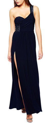 made2envy Sequin Embellished One Shoulder Side Slit Maxi Dress