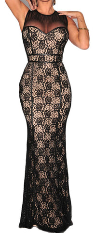 made2envy Lace Overlay Nude Illusion Mesh Accent Hourglass Gown