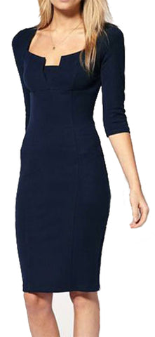 made2envy Amy Pencil Dress with Square Neckline and Three Quarter 3/4 Sleeves