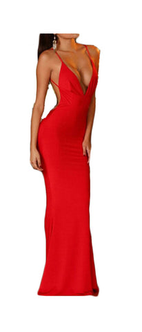 made2envy Deep V Neckline Backless Evening Gown
