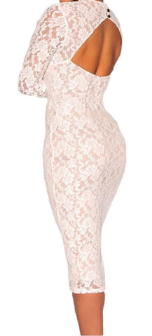 made2envy Sweetheart Neck Long Sleeve Padded Midi Lace Dress