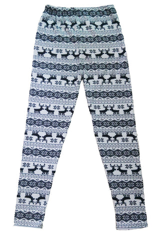 made2envy  Fleece Lined Reindeer and Snowflakes Winter Leggings
